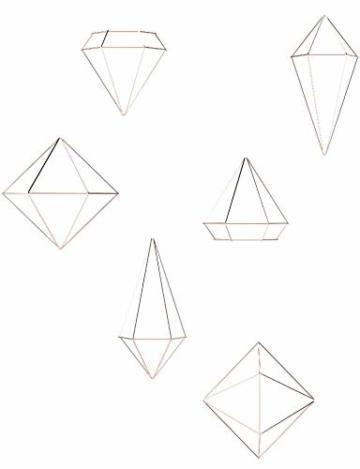Umbra Prisma Geometrische Wanddekoration – Deko zum Aufhängen an Wand und Decke oder als Tischdekoration Verwendbar, Set mit 6 Prisma Hälften, Metall / Kupfer - 14