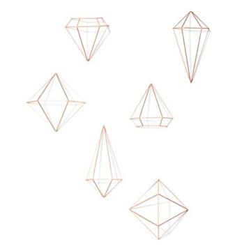 Umbra Prisma Geometrische Wanddekoration – Deko zum Aufhängen an Wand und Decke oder als Tischdekoration Verwendbar, Set mit 6 Prisma Hälften, Metall / Kupfer - 1