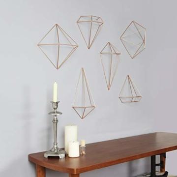 Umbra Prisma Geometrische Wanddekoration – Deko zum Aufhängen an Wand und Decke oder als Tischdekoration Verwendbar, Set mit 6 Prisma Hälften, Metall / Kupfer - 5