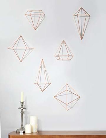 Umbra Prisma Geometrische Wanddekoration – Deko zum Aufhängen an Wand und Decke oder als Tischdekoration Verwendbar, Set mit 6 Prisma Hälften, Metall / Kupfer - 6