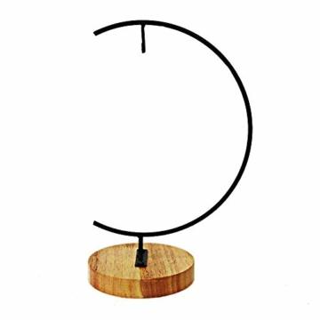 Fosinz Ornament Display Stand - Holz Eisen Hängende Stand Pflanzen Halter für hängende Glas Globe Air Plant Terrarium, Ball, Christbaumkugel & Home Wedding Dekoration (Wood 2 Pack) - 2