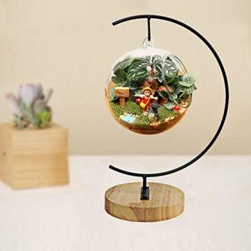 Fosinz Ornament Display Stand - Holz Eisen Hängende Stand Pflanzen Halter für hängende Glas Globe Air Plant Terrarium, Ball, Christbaumkugel & Home Wedding Dekoration (Wood 2 Pack) - 3