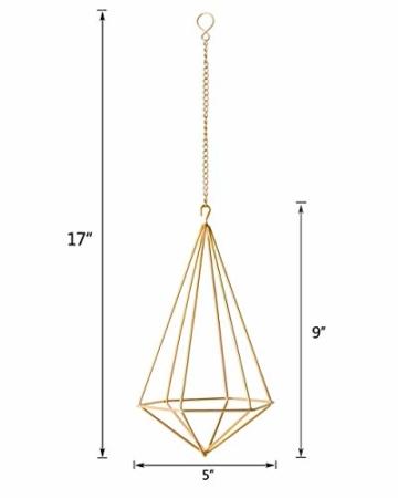 Mkouo 2 Stück Geometrische Air Plants Hängenden Rack Holder métal tillandsien Pflanzen Halter(und Eisenkette) Glod Wandvasen Topf Container Dekoration, 22,9x12,7 cm - 6