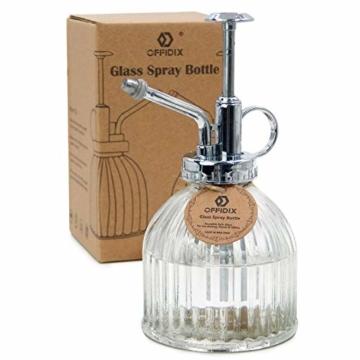 """OFFIDIX Transparente Glas-Bewsserungs-Spray-Flasche, 6,5""""Tall Vintage Style Spritzer mit Bronze-Kunststoff-Top-Pumpe One Hand Spritzflasche - 1"""